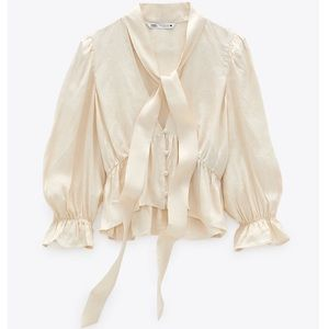 Zara Jacquard Blouse with Bow